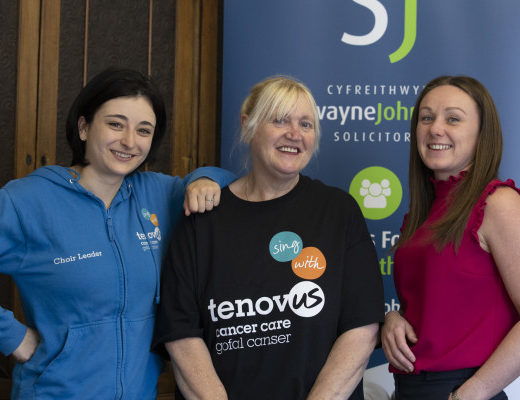 Swayne Johnson, Llandudno, Pictured are Izzy Rodrigues and Cecilia Grundey  from Tenovus with Emma Deering of Swayne Johnson.  Picture Mandy Jones